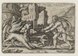 herkules-und-cerberus-kupferstich-von-hans-sebald-beham-1545